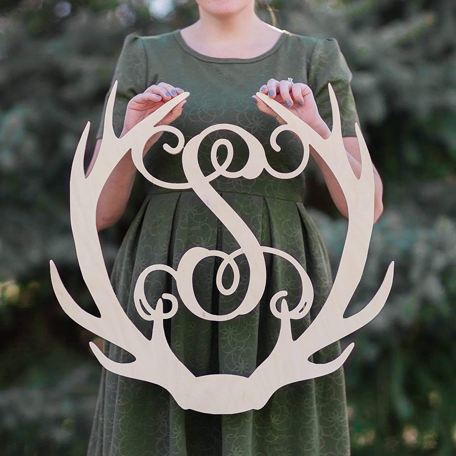 SALE Bombing free shipping 12-36 Max 67% OFF inch tall Wooden ANTLER Monogram Letters Room De Vine