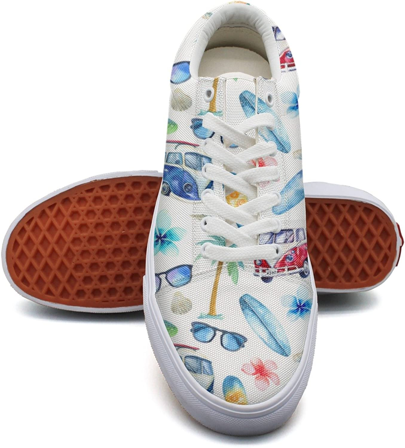 Hjkggd fgfds Casual Watercolor Beach Surfing Patterns Women Girls Canvas shoes