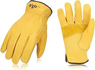 Vgo 3Pairs Unlined Cow Grain Leather Work and Driver Gloves with Cow Split Leather Palm Patch(Size XL,Gold,CA9590)