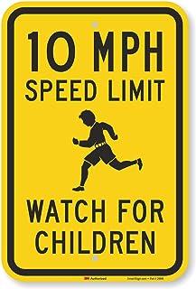 "SmartSign10 MPH Speed Limit Watch for Children Sign | 12"" x 18"" 3M Engineer Grade Reflective Aluminum"