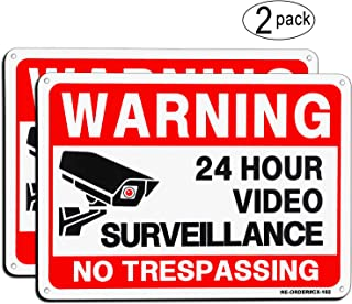 Video Surveillance Sign 2 Pack, MUXYH No Trespassing Sign, UV Protected & Waterproof, 10