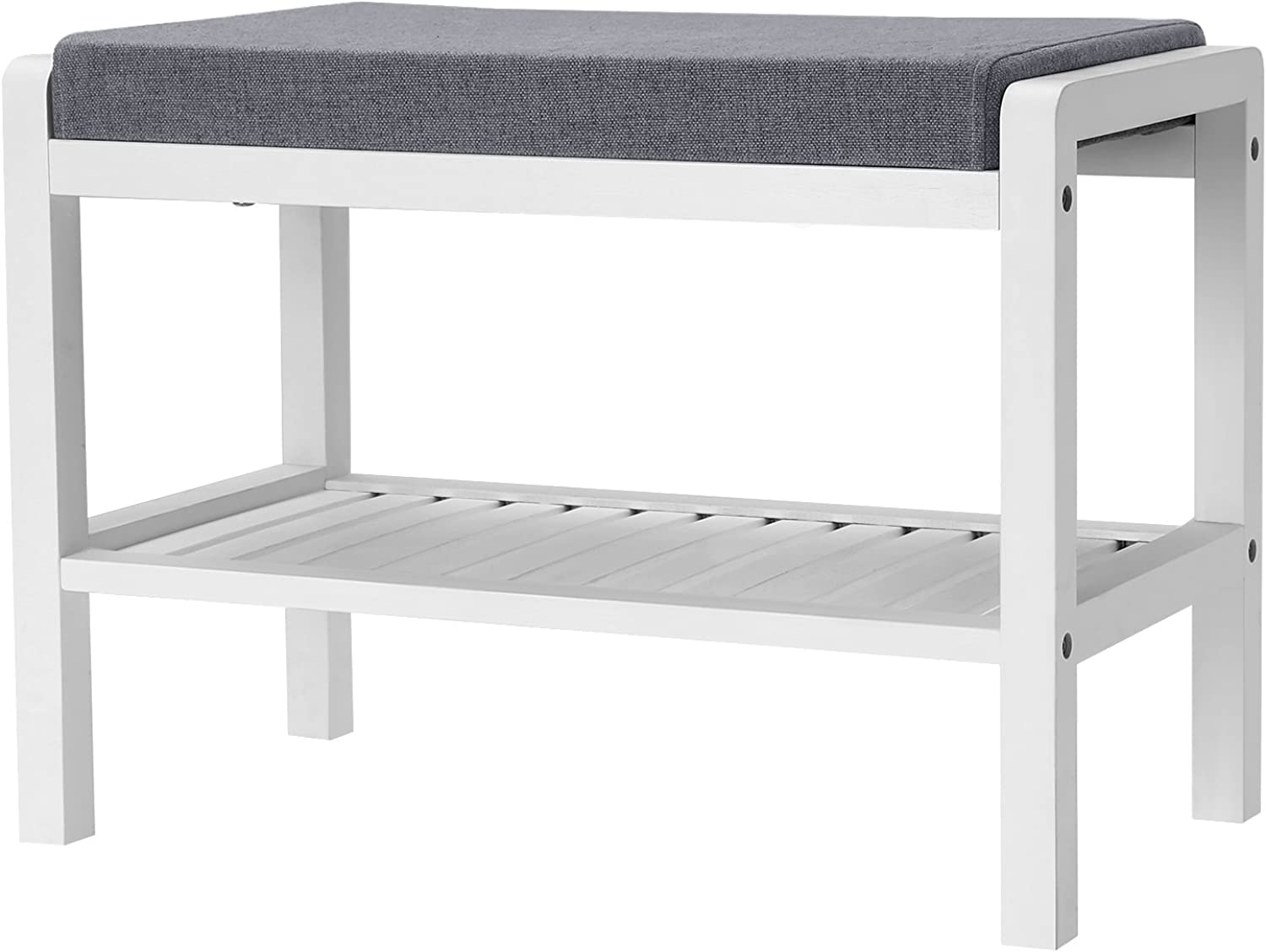 SONGMICS shoes Rack Bench with Cushion Upholstered Padded Seat, Storage Shelf, shoes Organizer, Holds Up to 350 Lb, Ideal for Entryway Bedroom Living Room Hallway Garage Mud Room White ULBS65WN