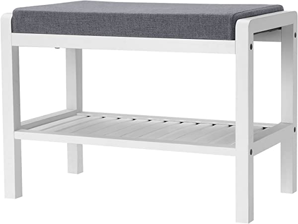 SONGMICS Shoe Rack Bench With Cushion Upholstered Padded Seat Storage Shelf Shoe Organizer Holds Up To 350 Lb Ideal For Entryway Bedroom Living Room Hallway Garage Mud Room White ULBS65WN