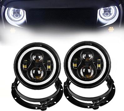 Faro a LED da 7 pollici con fari ad alta anabbagliante Angel Eye DRL Lampada di svolta per auto moto