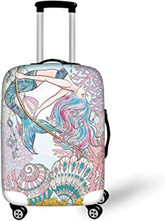 Travel Luggage Cover Suitcase Protector,Traditional Paisley Floral Pattern Swirl
