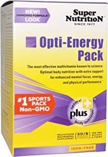 Super Nutrition Opti-Energy Pack, Multivitamin/Mineral Supplement, Iron-Free, 30 Packets (6 Tabs Each)