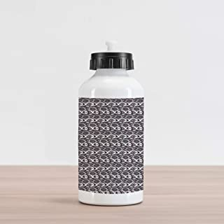 20oz Doodle Aluminum Insulated Spill-Proof Travel Sports Water Bottle Hatched Grid Overlaying Hand-Drawn Circles Retro Style Scribbled Pattern Design, Multicolor