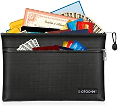 "BALAPERI Fireproof Document Bag Two Pockets Two Fireproof Zippers,11.4""x 7.87"" Waterproof Fireproof Money Bag,Fireproof Sa..."