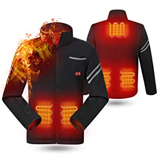 rocboc Heated Jacket, USB Electric Heating Clothes Full-Zip Heated Sweatshirt (No Battery)