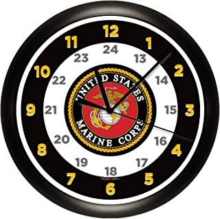 Susie85Electra Us Marine Corps Wood Wall Clock Modern Decorative Non Ticking for Living Room Kids Bedrooms 12 Inch