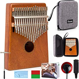 Kalimba 17 Key Finger Piano Marib Mahogany with Padded Gig Bag Tuner Hammer By Kmise