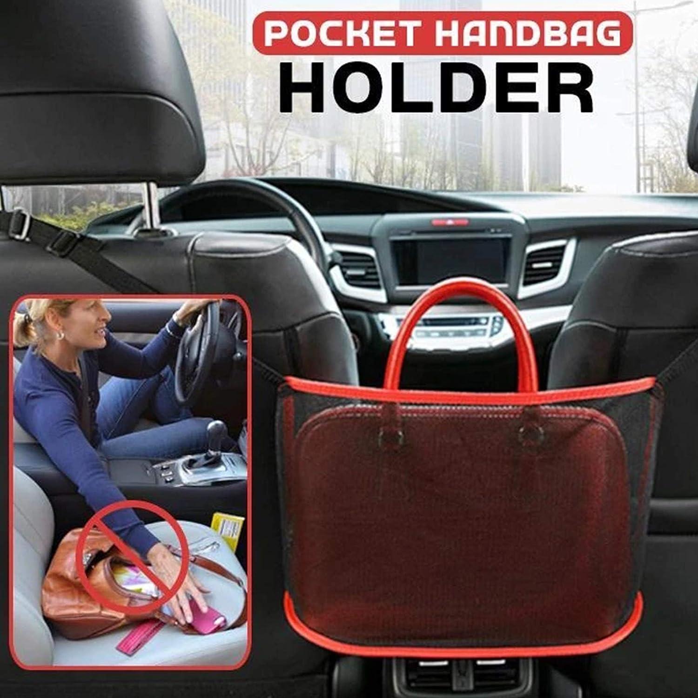 Meshin Foviza Car Net Pocket Handbag Holder,for Handbag Bag Documents Phone Valuable Items Large Capacity,Barrier of Backseat Pet Kids Not Included Handbag