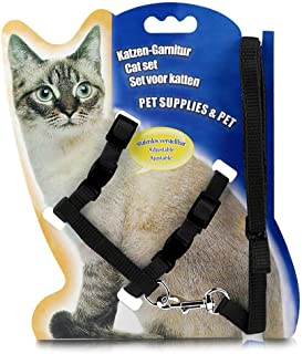 PSK Cat and Small Pet Nylon Strap Collar with Adjustable Walking Harness Leash (Black)