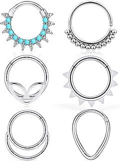 Ocptiy 16G 6PCS 316L Stainless Steel Septum Nose Rings Hoop Clicker Ring Lip Cartilage Tragus Helix Earrings Hoop Ring Pie...