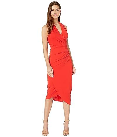 Nicole Miller Stretchy Matte Jersey Midi Dress (Cherry Red) Women
