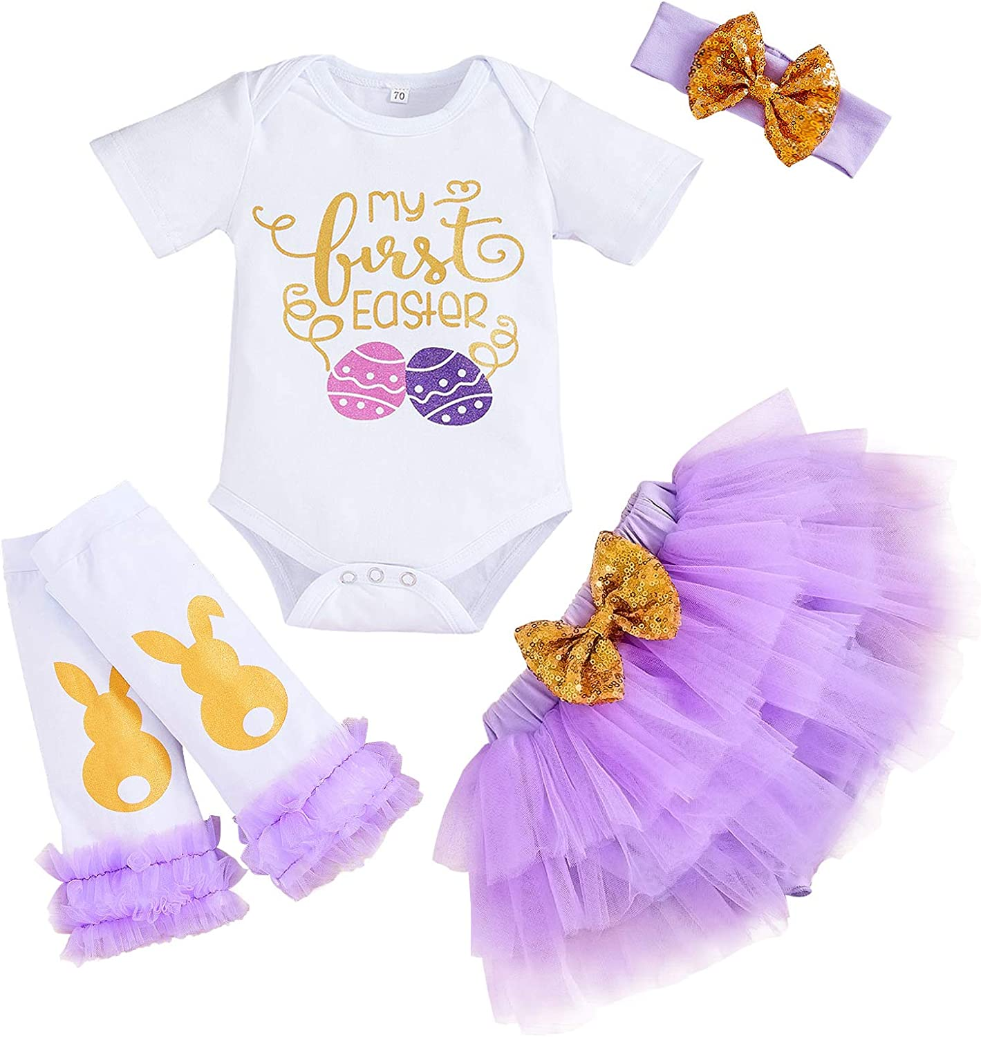 My First Easter Outfit Baby Girl Short Sleeve Romper+Tutu Skirt+Headband+Leg Warmers Clothes Set