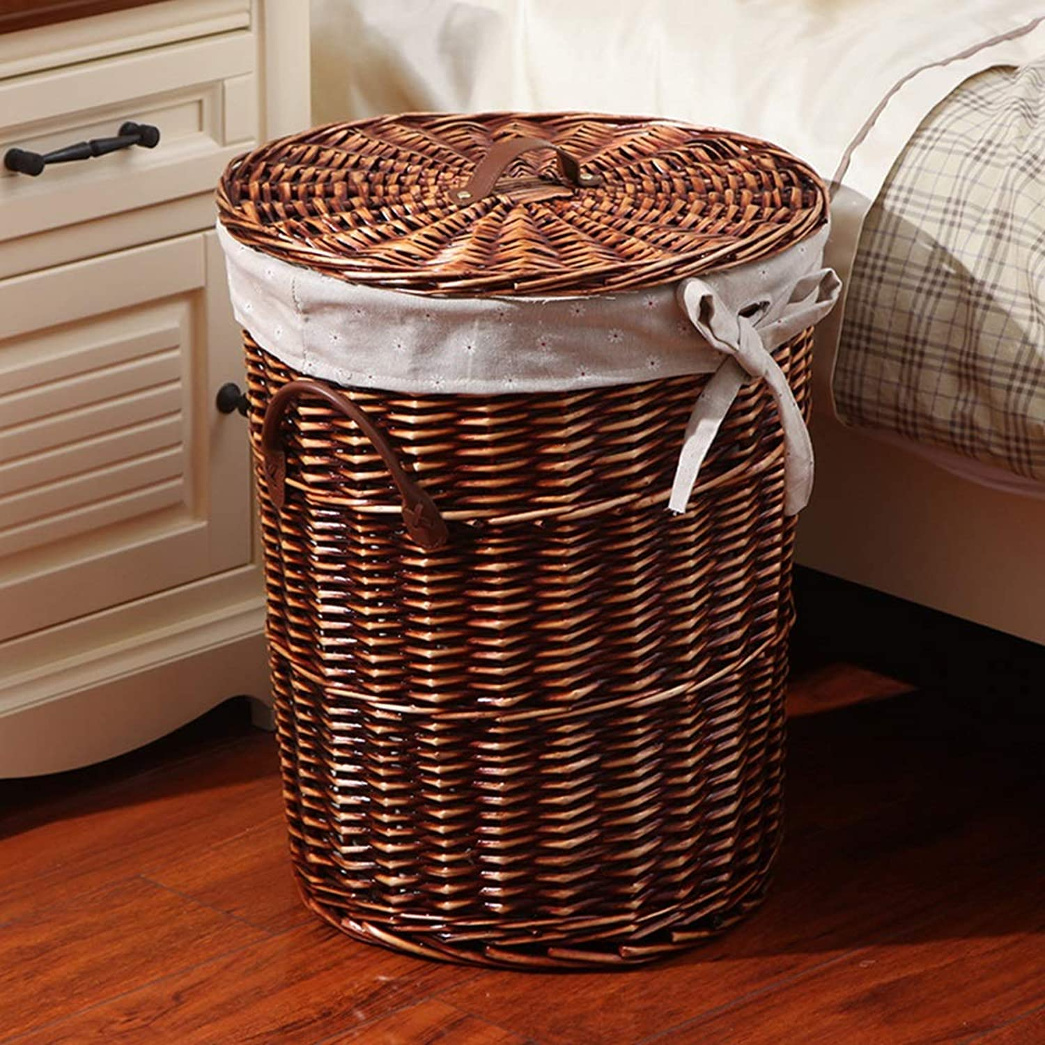 ZDNALS Household Toys, Garbage Storage Basket, Rattan Hamper Basket - A Variety of Optional Storage Basket (color   A, Size   38×30cm)
