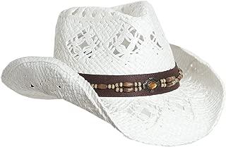 Straw Cowboy Hat W/Vegan Leather Band & Beads, Shapeable Brim, Beach Cowgirl