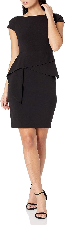 Vince Camuto Women's Bodycon Cap Sleeve Dress with Peplum Skirt