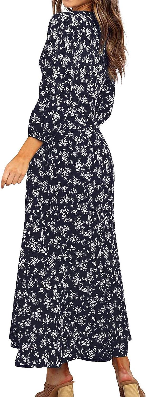 HenzWorld Frauen Leopard Kleid Langarm Boho Freizeitkleider Lady High Waist Front Kordelzug Wait Belt Midi Kleid