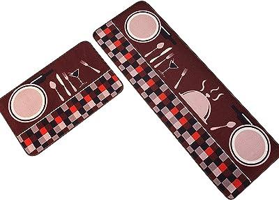 2 Pcs Non Slip Kitchen Rugs,Absorbent Oil Absorption Floor Mat,Indoor Door Mat Runner Rug Sets,Standing Mat,for Kitchen Restaurant (Size : 50×80+50×120cm, Style : C)