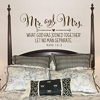 DIGGOO Mr.and Mrs. What God has Joined Together Mark 10 9 Vinyl Wall Decal Bedroom Wall Decor Sticker Scripture Verse Chri...