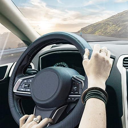 ZATOOTO Car Steering Wheel Cover for Men - Black Microfiber Leather Sport Auto Accessories Universal 15 inch for Women