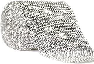 Joyolelf 24 Reihe Silber Strassband Diamant Band Dekoband, Perfekt für bling Braut, Blumenstrauß, Rahmen, Vasen, Hochzeit und Party Dekoration, 10 Meter