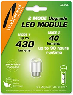 LiteXpress LXB430 2Mode LED Upgrade Modul 430 Oder 40 Lumen ONLY for 2 C/D-Cell Maglite Flashlights