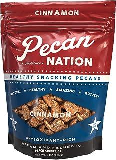 Pecan Nation Cinnamon Flavored Roasted Pecan Halves8 oz., Natural, No preservatives, Antioxidant-Rich, Low Carb, Keto-Fri...