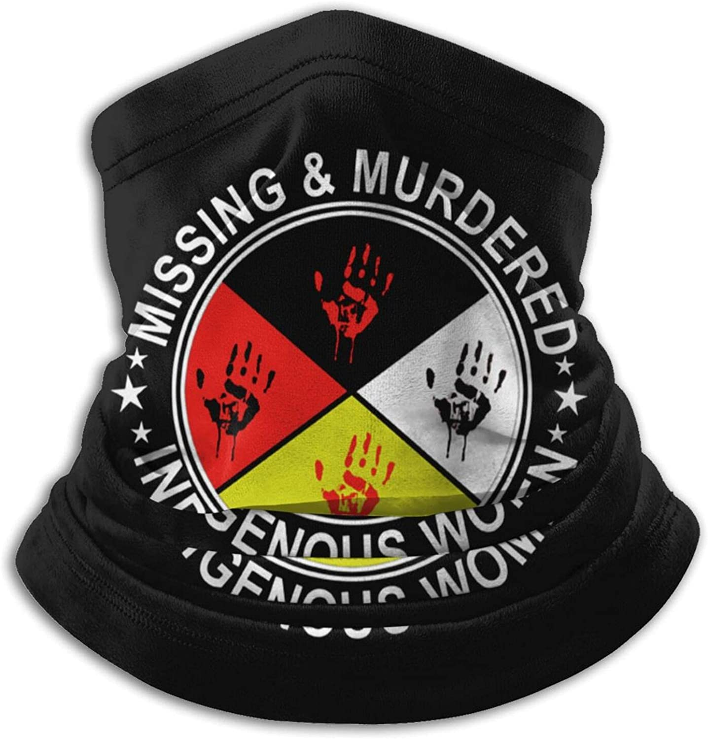 Missing murdered indigenous women unisex winter neck gaiter face cover mask, windproof balaclava scarf for fishing, running & hiking