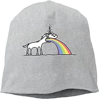 YUVIA Rainbow Unicorn Men's&Women's Patch Beanie CampingBlack Caps Hats For Autumn And Winter