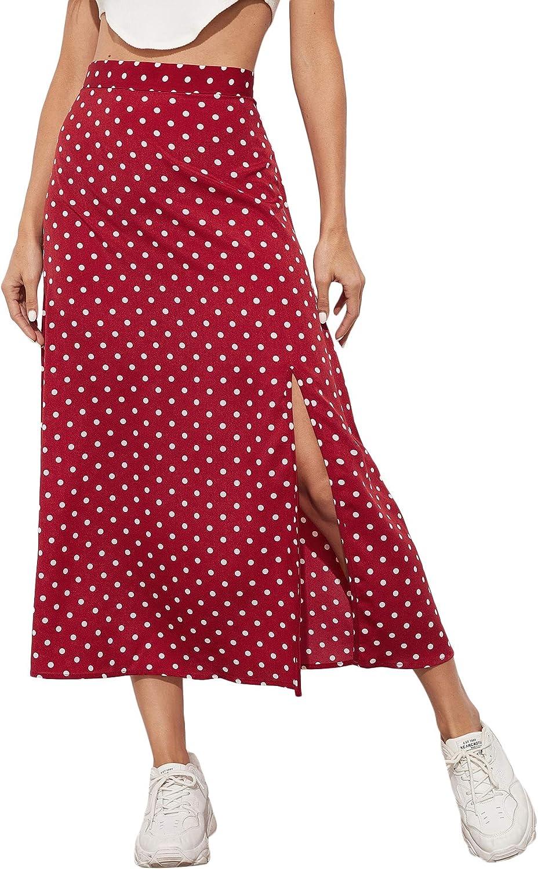Milumia Women Casual Polka Dots High Waisted Long Skirt High Split Zipper Side Skirt
