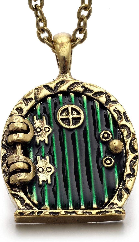 Davitu Vintage Charm Green Hobbit Door Locket Pendant Necklace - (Metal Color: Gold-Color)