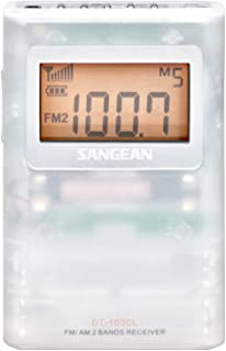 Sangean DT-160CLP FM-Stereo/AM Pocket Radio with Protective Pouch & Belt Clip (Clear)