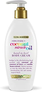 OGX Extra Creamy + Coconut Miracle Oil Hand-to-Heel Body Cream with Vanilla Bean, Fast-Absorbing Body Lotion for Dry Skin,...