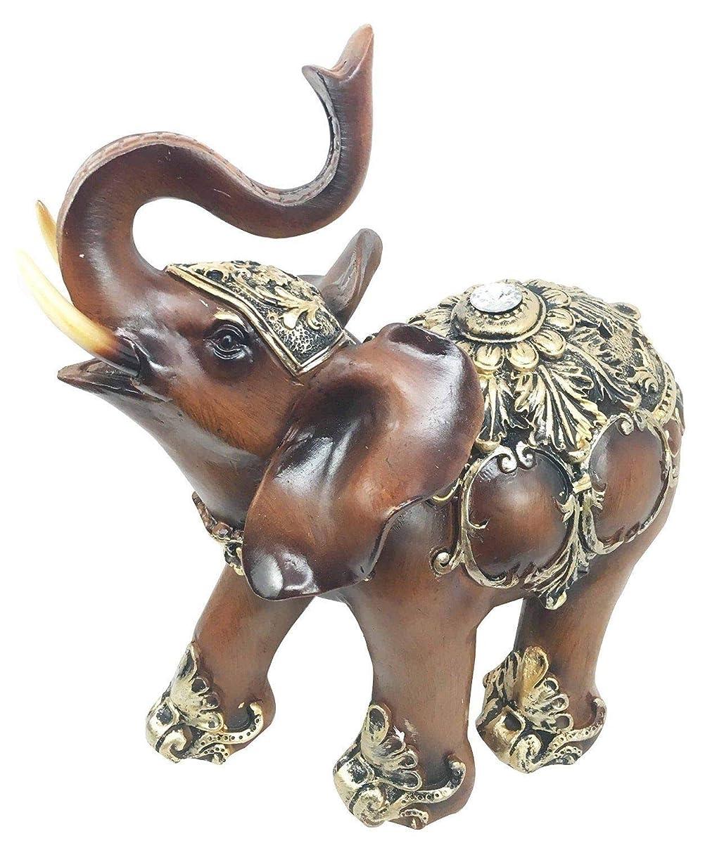 Figurine Thai Buddha Ganesh Wood Finish Resin Statue Elephant with Trunk Up 10