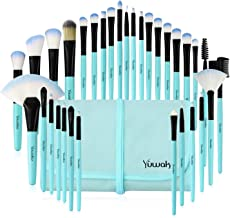 Makeup Brushes Set, 32pcs Blue Premium Cosmetic Make Up Brushes Foundation Blending Blush Concealer Shader Eyeshadow Eyeliner Compatible withTravel Makeup Bag