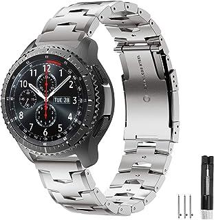 Syxinn Kompatibel med Galaxy Watch 3 45 mm/Galaxy Watch 46 mm/Gear S3 Frontier/Classic Remband, 22 mm rostfritt stål metal...