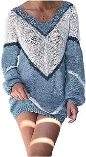 neveraway Women's V-Neck Fall Winter Loose Plus Size Color Block Blouse T-Shirt