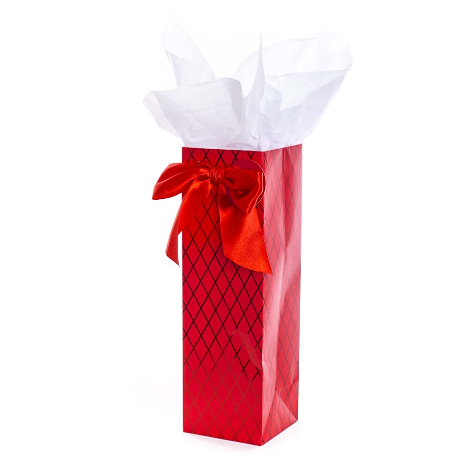 Hallmark Christmas Bottle Gift Bag with Tissue Paper (Red) vtgahoge0273