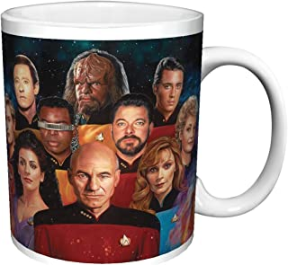 Star Trek The Next Generation Cast Group (Nicky Barkla The Final Frontier) Sci-Fi TV Television Show Ceramic Gift Coffee (Tea, Cocoa) (15 OZ C HANDLE CERAMIC MUG)