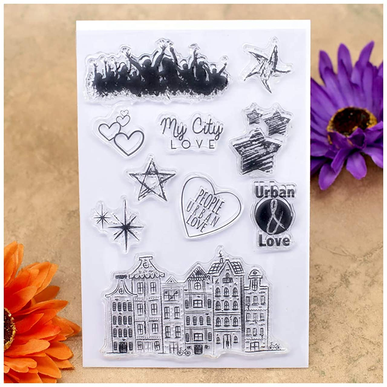 Kwan Crafts My City Love People Urban Love Heart Star Clear Stamps for Card Making Decoration and DIY Scrapbooking