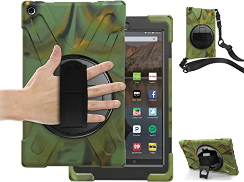 Amazon Fire HD 10 Tablet Case with Stand and Strap | TSQ Heavy Duty Antislip Shockproof Childproof Protective Case wi...