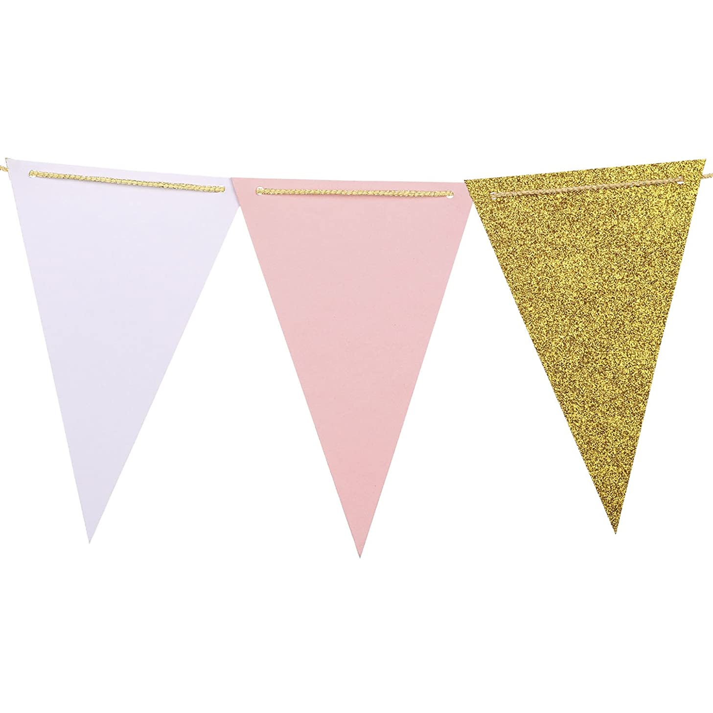 Ling's moment Paper Pennant Banner Triangle Flags Garland for Wedding, Baby Shower, Cake Smash, Photo Props, Event & Party Supplies, 15pcs Flags(Pink+Pearl White+Gold Glitter)