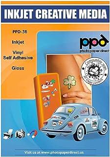 PPD Pegatinas de vinilo con acabado brillante para impresión de inyección de tinta A4 x 20 hojas PPD-36-20