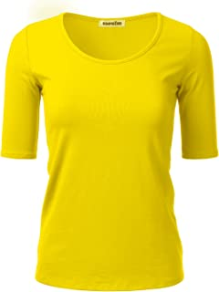 SSOULM Women's 1/2 Sleeve Crewneck Cotton Basic Slim Fit T-Shirt Top with Plus Size