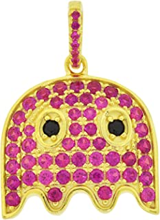Men's Yellow Gold-Plated Sterling Silver Round Cut Cubic Zirconia Arcade Ghost Pendant, 1.00