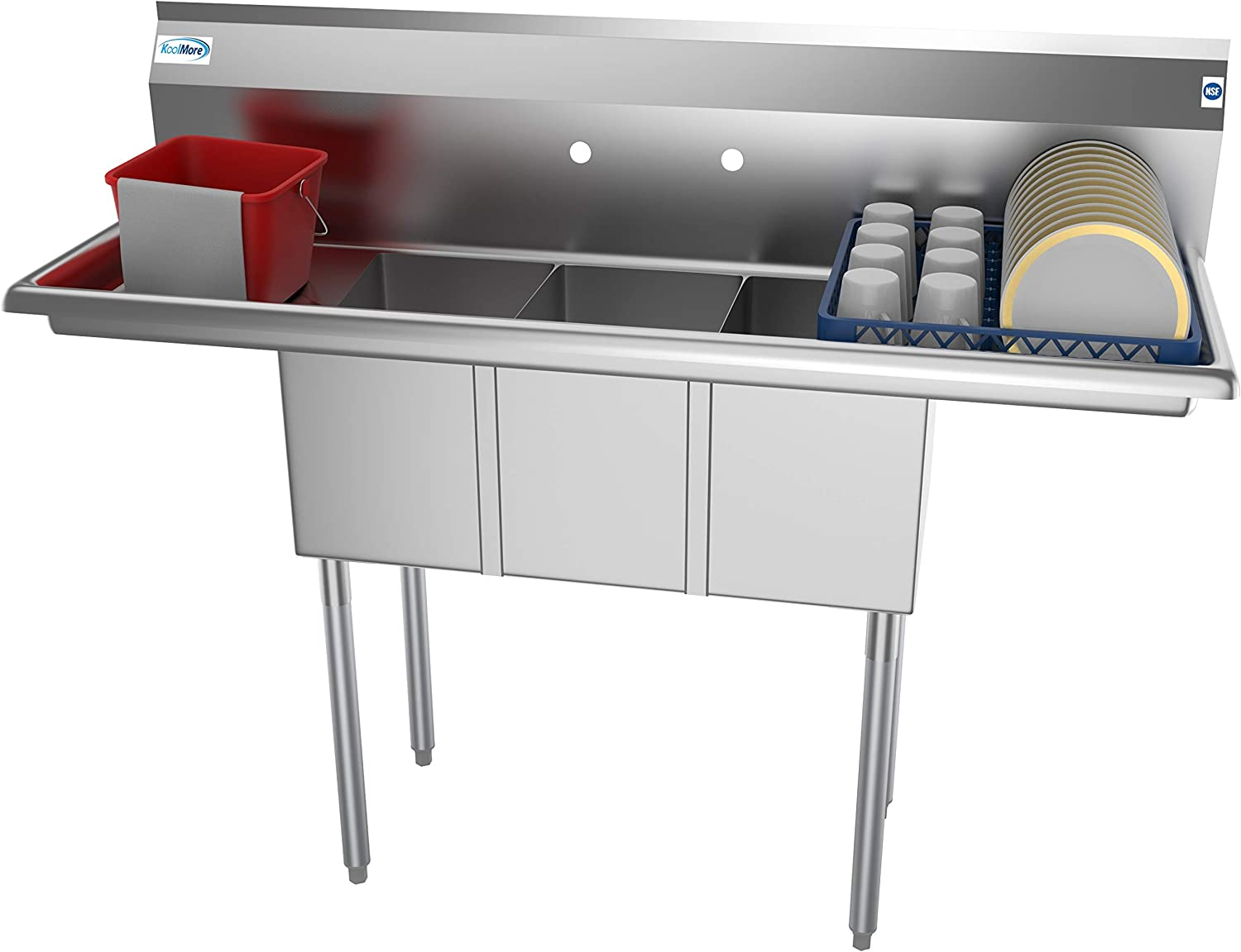 All Max 60% OFF items free shipping KoolMore - SC101410-12B3 3 Compartment Comme Stainless Steel NSF
