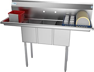 KoolMore 3 Compartment Stainless Steel NSF Commercial Kitchen Sink with Right and Left Drainboards - Bowl Size 10